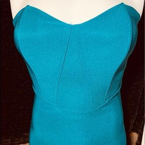 Foreign Exchange strapless, turquoise sz Small